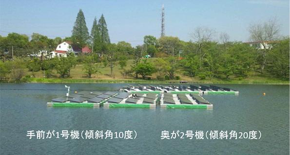 実証実験中の水上ソーラー(20kW×2基) 兵庫県小野市