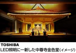東芝、岩手県中尊寺にLED照明と太陽光発電システムを寄贈