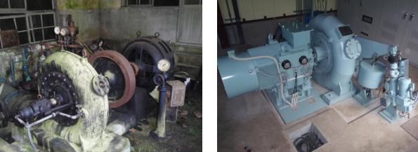 水車発電機の再生前(左)と再生後(右)
