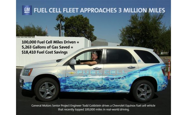 GMの燃料電池車、16万km走行達成 通算でガソリン2万リットルを節約