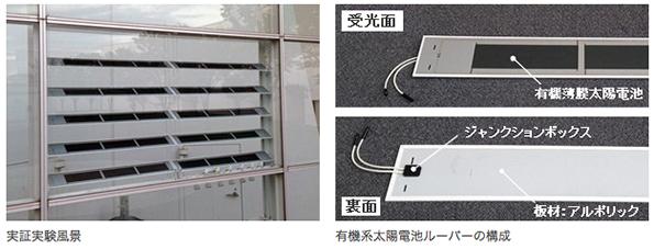 竹中工務店、有機系太陽電池と建物外装材ルーバーを一体化 実証実験を開始