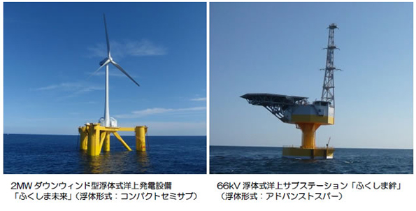 福島県沖の浮体式洋上風力発電が運転開始 海底ケーブルで送電