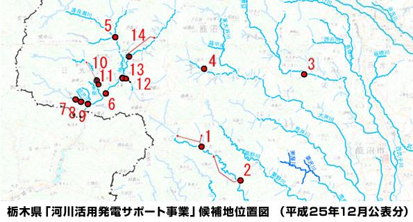栃木県が小水力発電の候補地15ヵ所を公表 1月に発電事業者を公募予定