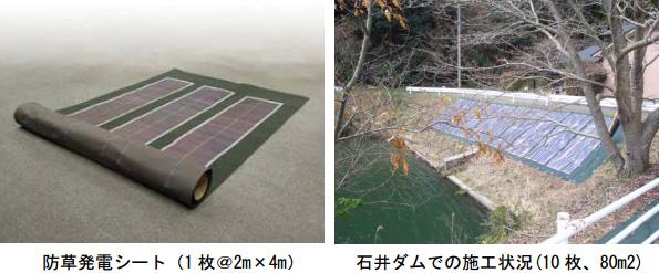 「太陽光発電する防草シート」、山口県の道路脇で実験開始 見学会も開催