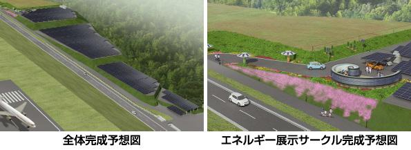 富士山静岡空港のメガソーラー 防眩仕様の太陽光発電パネル6,300枚