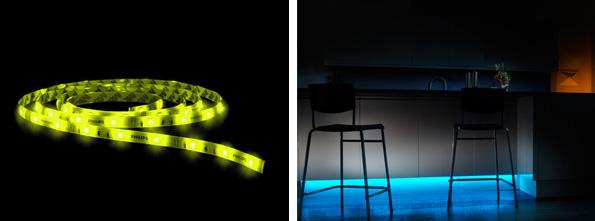 アプリで色や明るさを調整できるLED照明 間接照明タイプと貼れるリボンタイプ