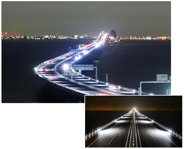 東京湾アクアライン、道路照明がLEDに 電力使用量40%減