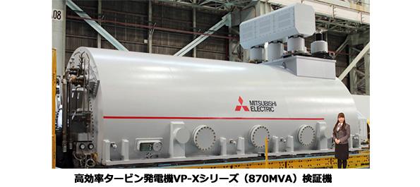 水素間接冷却方式では世界最大級 三菱電機の火力発電所向けタービン発電機