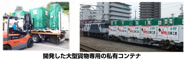 大型貨物用の専用コンテナでトラックから鉄道輸送へ切替え CO2大幅削減