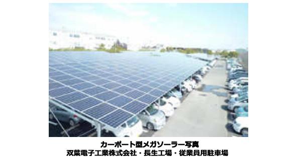 駐車場の屋根でメガソーラー完成 千葉県の双葉電子工業の工場で