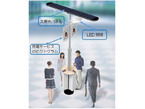 東京都の街角でスマホを充電!(※無料) シャープの「ソーラー充電スタンド」