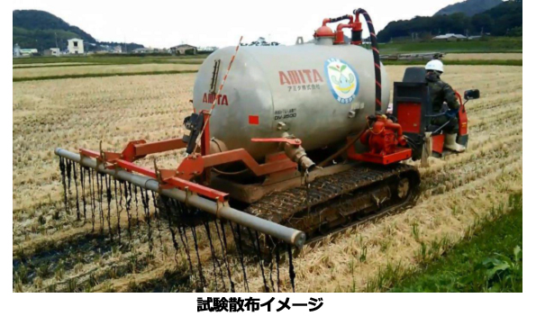 バイオガス発電でできた消化液(発酵残渣)、液肥として小麦に撒く実験スタート
