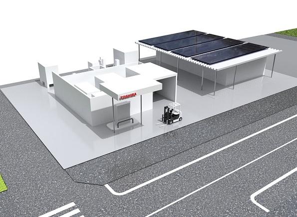 東芝の「太陽光発電→水素→燃料電池フォークリフト」設備が建設開始