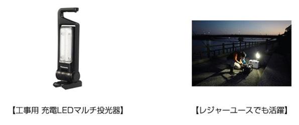 パナソニック、大光量1500lmの「工事用 充電LEDマルチ投光器」19000円で発売
