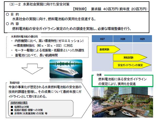 燃料電池ではしる船 国土交通省、東京五輪を目標に実験スタート