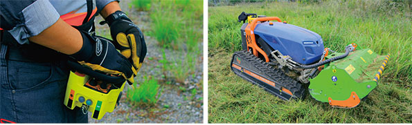 ラジコン操作の様子 イタリア製の草刈機「ギガRCマルチカッター」