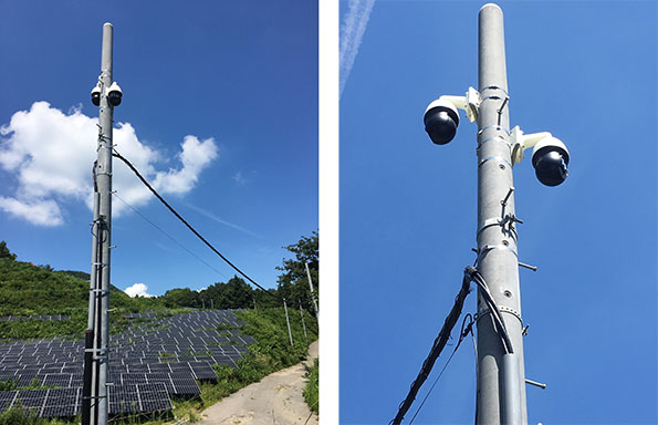 発電所の盗難防止対策として効果を発揮する監視カメラ