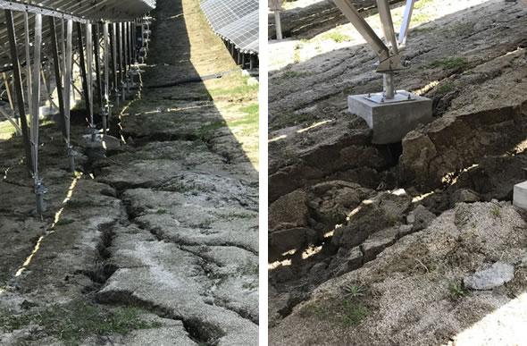 土木不良による地割れ、基礎架台トラブル